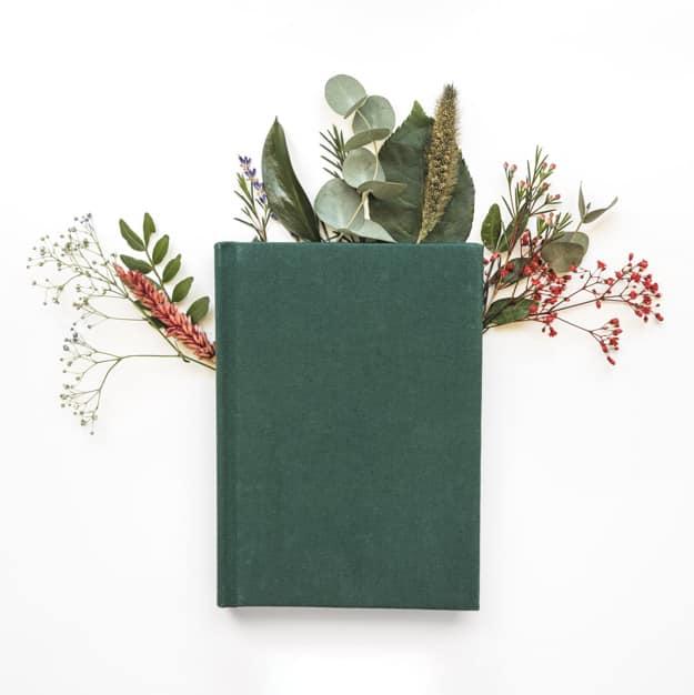 Portada libro o novela adornada con flores